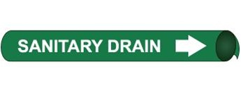 Sanitary Drain, Pre-coiled and Strap On Pipe Markers - Available in 8 Sizes