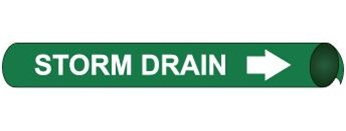 Storm Drain, Pre-coiled and Strap On Pipe Markers - Available in 8 Sizes