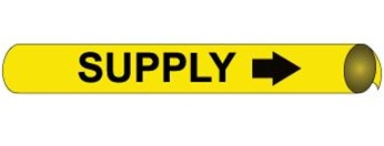 Yellow Supply, Pre-coiled and Strap On Pipe Markers - Available in 8 Sizes