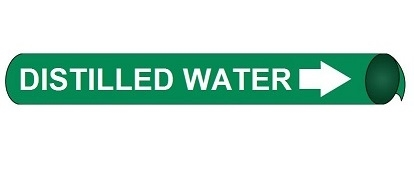 Distilled Water Pre-coiled and Strap On Pipe Markers - Available in 8 Sizes