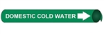 Domestic Cold Water Pre-coiled and Strap On Pipe Markers - Available in 8 Sizes