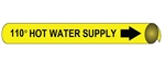 110° Degree Hot Water Supply Pre-coiled and Strap On Pipe Markers - Available in 8 Sizes