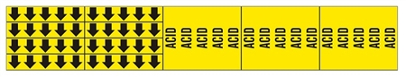 ACID PIPE MARKER - STYLE F - 2 1/4 X 13 3/4 For Pipes 3/4 outside diameter or less 8 Strips of arrows (5 ea. in a strip) 1/2 X 2 3/4 - 3 Strips legend (5 per strip) 2 1/4 X 2 3/4