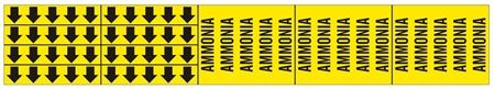 AMMONIA PIPE MARKER - STYLE F - 2 1/4 X 13 3/4 For Pipes 3/4 outside diameter or less 8 Strips of arrows (5 ea. in a strip) 1/2 X 2 3/4 - 3 Strips legend (5 per strip) 2 1/4 X 2 3/4