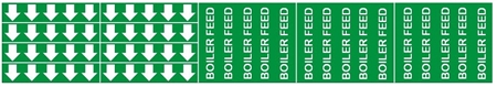 BOILER FEED PIPE MARKER - STYLE F - 2 1/4 X 13 3/4 For Pipes 3/4 outside diameter or less 8 Strips of arrows (5 ea. in a strip) 1/2 X 2 3/4 - 3 Strips legend (5 per strip) 2 1/4 X 2 3/4