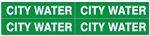 CITY WATER, PIPE MARKER - STYLE D - For Pipes 1 to 2-3/8 outside diameter 4 Markers per card 1-1/8 X 6
