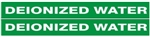 DEIONIZED WATER PIPE MARKER - STYLE B - For Pipes 1 to 2-3/8 outside diameter 2 Markers per card 1-1/8 X 12
