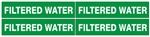 FILTERED WATER, Pipe Marker - STYLE D - For Pipes 1 to 2-3/8 outside diameter 4 Markers per card 1-1/8 X 6