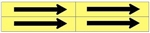 FLOW ARROW Black on Yellow - Use with 1 1/8 X 6 Style D Markers, For Pipes 1 to 2-3/8 outside diameter - 4 Arrows per card 1-1/8 X 6