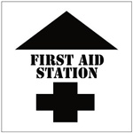 FIRST AID STATION with Arrow Floor Marking Stencil - 24 x 24