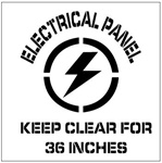 ELECTRICAL PANEL KEEP CLEAR FOR 36 INCHES - Floor Marking Stencil - 24 x 24
