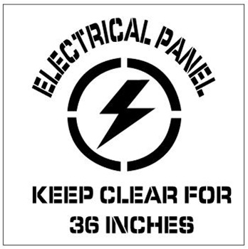 ELECTRICAL PANEL KEEP CLEAR FOR 36 IN, Floor Stencils