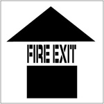 FIRE EXIT with Arrow - Floor Marking Stencil - 24 x 24