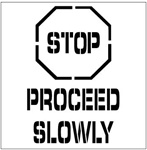 STOP PROCEED SLOWLY - Floor Marking Stencil - 24 x 24