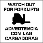 WATCH OUT FOR FORKLIFTS - BILINGUAL - Floor Marking Stencil - 24 x 24