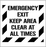 EMERGENCY EXIT KEEP AREA CLEAR AT ALL TIMES - Floor Marking Stencil - 24 x 24