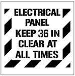 "ELECTRICAL PANEL KEEP 36 INCHES CLEAR AT ALL TIMES - Floor Marking Stencil - 24"" x 24"""