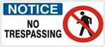 NOTICE NO TRESPASSING (w/graphic) Sign, Choose from 5 X 12 or 7 X 17 Pressure Sensitive Vinyl, Plastic or Aluminum.