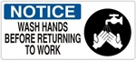 NOTICE WASH HANDS BEFORE RETURNING TO WORK (w/graphic) Sign, Choose from 5 X 12 or 7 X 17 Pressure Sensitive Vinyl, Plastic or Aluminum.