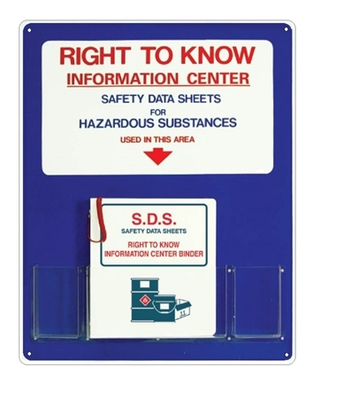 "Right To Know MSDS Information Center With Binder - 30"" X 24"" Constructed of high-impact plastic"