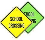 SCHOOL CROSSING Sign - Available in 24 X 24 Engineer Grade, Hi Intensity or Diamond Grade reflective .080 Aluminum