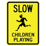 SLOW CHILDREN PLAYING w/symbol SIGN - 24 X 18 Engineer Grade or Hi Intensity Reflective .080 Aluminum