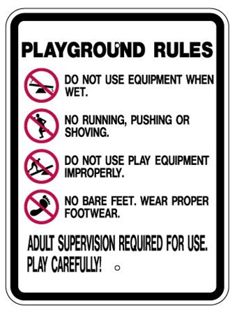 PLAYGROUND RULES Sign - 24 X 18 Reflective .080 Aluminum