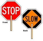 "STOP SLOW PADDLE Sign - 18 X 18 octagon 2 sided with 12"" wood handle made of baked enamel aluminum, Lightweight and easy to handle"