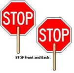 STOP/STOP PADDLE SIGN - 18 X 18 octagon Hand Held Stop Sign Paddle made of baked enamel aluminum, Double Sided Lightweight and easy to handle