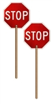HAND HELD STOP/STOP SIGN - Double Sided 24 X 24 Engineer Grade Reflective .040 aluminum with 6 foot handle