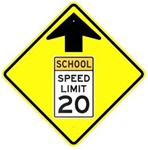 Advance warning SCHOOL ZONE SPEED LIMIT 20 AHEAD Sign - Available in 30 X 30 Engineer Grade, Hi Intensity or Diamond Grade Reflective .080 Aluminum