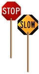 "REFLECTIVE STOP SLOW PADDLE SIGN - Sign 18 X 18 Octagon Double Sided with 72"" Wooden Handle made of reflective aluminum."