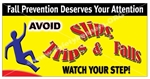 Fall Prevention, Watch Your Step, Safety Banners and Posters, Choose from 6 sizes