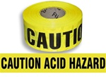 Caution Acid Hazard Barricade Tape - 3 X 1000 ft. Rolls - Durable 3 mil Polyethylene
