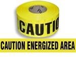 Caution Energized Area  Barricade Tape - 3 in. X 1000 ft. Rolls - Durable 3 mil Polyethylene