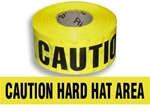 Caution Hard Hat Area  Barricade Tape - 3 in. X 1000 ft. Rolls - Durable 3 mil Polyethylene