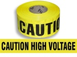 Caution High Voltage Barricade Tape - 3 in. X 1000 ft. Rolls - Durable 3 mil Polyethylene