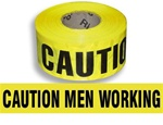 Caution Men Working Barricade Tape - 3 in. X 1000 ft. Rolls - Durable 3 mil Polyethylene