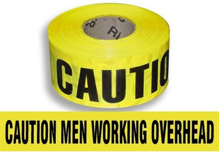 Caution Men Working Overhead Barricade Tape - 3 in. X 1000 ft. Rolls - Durable 3 mil Polyethylene