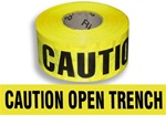 Caution Open Trench Barricade Tape - 3 in. X 1000 ft. Rolls - Durable 3 mil Polyethylene