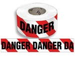 Danger on Red & White Alternating Striped - Barricade Tape - 3 in. X 1000 ft. lengths - Durable 3 Mil. Polyethylene