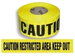 Caution Restricted Area Keep Out Barricade Tape - 3 in. X 1000 ft. Rolls - Durable 3 mil Polyethylene