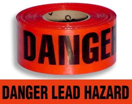 Danger Lead Hazard - Barricade Tape - 3 X 1000 ft. lengths - 3 Mil Durable Polyethylene