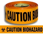 Caution Biohazard - Barricade Tape - 3 in. X 1000 ft. lengths - 4 mil. Orange Durable Polyethylene