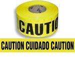 Bilingual Caution Barricade Tape - 3 in. X 1000 ft. Rolls - Durable 3 mil Polyethylene