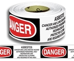 Danger Asbestos Cancer and Lung Disease Hazard - Barricade Tape - 3 in. X 1000 ft. Rolls - Durable 3 mil Polyethylene