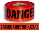 Danger Asbestos Hazard Barricade Tape - 3 in. X 1000 ft. Rolls - Durable 3 mil Polyethylene