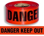 Danger Keep Out Barricade Tape - 3 in. X 1000 ft. Rolls - Durable 3 mil Polyethylene