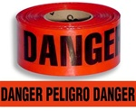Bilingual Danger Barricade Tape - 3 in. X 1000 ft. Rolls - Durable 3 mil Polyethylene