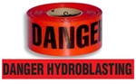 Danger Hydro-blasting Barricade Tape - 3 in. X 1000 ft. Rolls - Durable 3 mil Polyethylene
